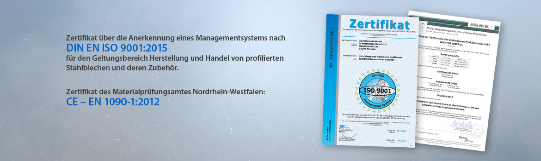 Zertifiziert nach DIN EN ISO 9001:2015 und CE – EN 1090-1:2012